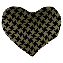 Houndstooth2 Black Marble & Khaki Fabric Large 19  Premium Heart Shape Cushions by trendistuff