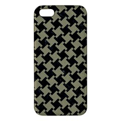 Houndstooth2 Black Marble & Khaki Fabric Apple Iphone 5 Premium Hardshell Case by trendistuff