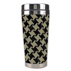 Houndstooth2 Black Marble & Khaki Fabric Stainless Steel Travel Tumblers by trendistuff