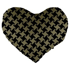 Houndstooth2 Black Marble & Khaki Fabric Large 19  Premium Flano Heart Shape Cushions by trendistuff
