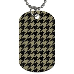 Houndstooth1 Black Marble & Khaki Fabric Dog Tag (one Side) by trendistuff