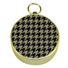 Houndstooth1 Black Marble & Khaki Fabric Gold Compasses by trendistuff