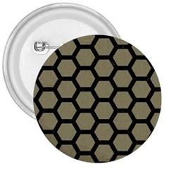 Hexagon2 Black Marble & Khaki Fabric 3  Buttons by trendistuff