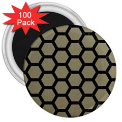 Hexagon2 Black Marble & Khaki Fabric 3  Magnets (100 Pack) by trendistuff