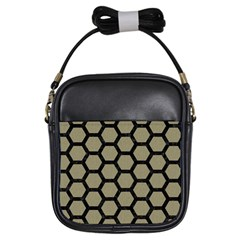 Hexagon2 Black Marble & Khaki Fabric Girls Sling Bags by trendistuff