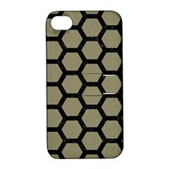 Hexagon2 Black Marble & Khaki Fabric Apple Iphone 4/4s Hardshell Case With Stand by trendistuff