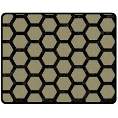 Hexagon2 Black Marble & Khaki Fabric Double Sided Fleece Blanket (medium)  by trendistuff