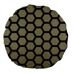 Hexagon2 Black Marble & Khaki Fabric Large 18  Premium Flano Round Cushions by trendistuff