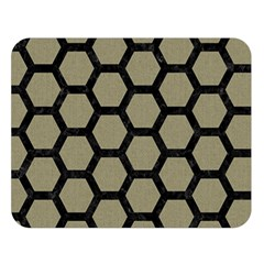 Hexagon2 Black Marble & Khaki Fabric Double Sided Flano Blanket (large)  by trendistuff