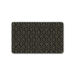 Hexagon1 Black Marble & Khaki Fabric (r) Magnet (name Card) by trendistuff