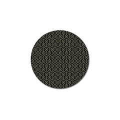 Hexagon1 Black Marble & Khaki Fabric (r) Golf Ball Marker by trendistuff