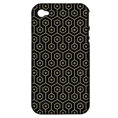 Hexagon1 Black Marble & Khaki Fabric (r) Apple Iphone 4/4s Hardshell Case (pc+silicone) by trendistuff