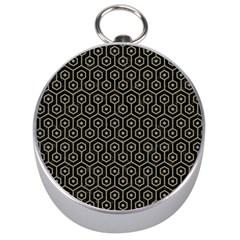Hexagon1 Black Marble & Khaki Fabric (r) Silver Compasses by trendistuff