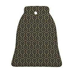 Hexagon1 Black Marble & Khaki Fabric Ornament (bell) by trendistuff
