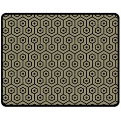 Hexagon1 Black Marble & Khaki Fabric Double Sided Fleece Blanket (medium)  by trendistuff
