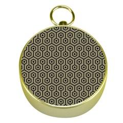 Hexagon1 Black Marble & Khaki Fabric Gold Compasses by trendistuff