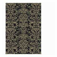 Damask2 Black Marble & Khaki Fabric (r) Small Garden Flag (two Sides) by trendistuff