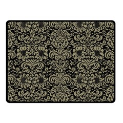 Damask2 Black Marble & Khaki Fabric (r) Double Sided Fleece Blanket (small)  by trendistuff