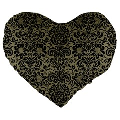 Damask2 Black Marble & Khaki Fabric Large 19  Premium Heart Shape Cushions by trendistuff
