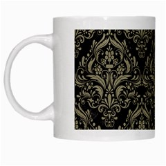 Damask1 Black Marble & Khaki Fabric (r) White Mugs by trendistuff