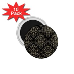 Damask1 Black Marble & Khaki Fabric (r) 1 75  Magnets (10 Pack)  by trendistuff