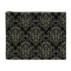 Damask1 Black Marble & Khaki Fabric (r) Cosmetic Bag (xl) by trendistuff