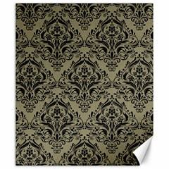 Damask1 Black Marble & Khaki Fabric Canvas 20  X 24   by trendistuff
