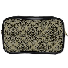 Damask1 Black Marble & Khaki Fabric Toiletries Bags by trendistuff