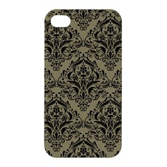 Damask1 Black Marble & Khaki Fabric Apple Iphone 4/4s Hardshell Case by trendistuff