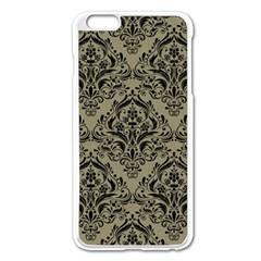 Damask1 Black Marble & Khaki Fabric Apple Iphone 6 Plus/6s Plus Enamel White Case by trendistuff