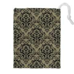 Damask1 Black Marble & Khaki Fabric Drawstring Pouches (xxl) by trendistuff