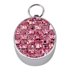 Modern Geo Fun,pink Mini Silver Compasses by MoreColorsinLife