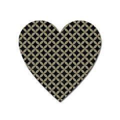 Circles3 Black Marble & Khaki Fabric (r) Heart Magnet by trendistuff