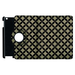 Circles3 Black Marble & Khaki Fabric Apple Ipad 3/4 Flip 360 Case by trendistuff