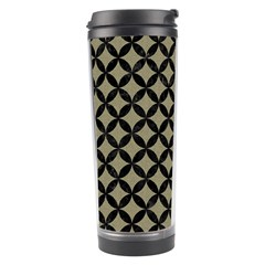 Circles3 Black Marble & Khaki Fabric Travel Tumbler by trendistuff