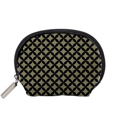 Circles3 Black Marble & Khaki Fabric Accessory Pouches (small)  by trendistuff