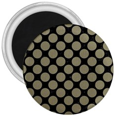 Circles2 Black Marble & Khaki Fabric (r) 3  Magnets by trendistuff