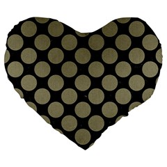 Circles2 Black Marble & Khaki Fabric (r) Large 19  Premium Heart Shape Cushions by trendistuff