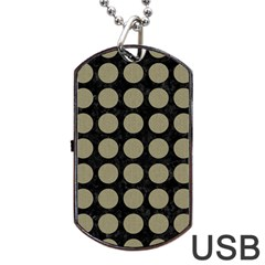 Circles1 Black Marble & Khaki Fabric (r) Dog Tag Usb Flash (two Sides) by trendistuff