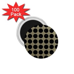 Circles1 Black Marble & Khaki Fabric 1 75  Magnets (100 Pack)  by trendistuff