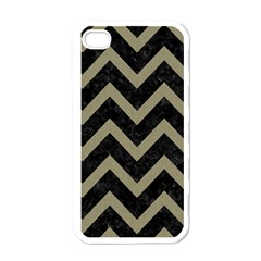 Chevron9 Black Marble & Khaki Fabric (r) Apple Iphone 4 Case (white) by trendistuff