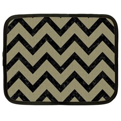 Chevron9 Black Marble & Khaki Fabric Netbook Case (xl)  by trendistuff