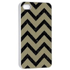 Chevron9 Black Marble & Khaki Fabric Apple Iphone 4/4s Seamless Case (white) by trendistuff