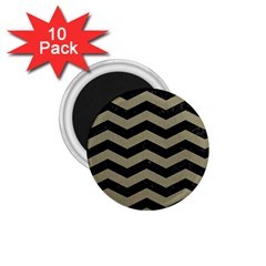 Chevron3 Black Marble & Khaki Fabric 1 75  Magnets (10 Pack)  by trendistuff