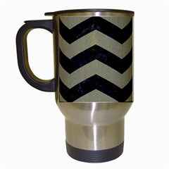Chevron3 Black Marble & Khaki Fabric Travel Mugs (white) by trendistuff