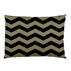 Chevron3 Black Marble & Khaki Fabric Pillow Case by trendistuff