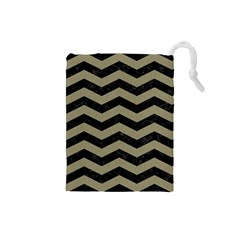 Chevron3 Black Marble & Khaki Fabric Drawstring Pouches (small)  by trendistuff