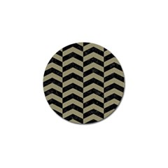 Chevron2 Black Marble & Khaki Fabric Golf Ball Marker (4 Pack) by trendistuff