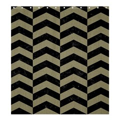 Chevron2 Black Marble & Khaki Fabric Shower Curtain 66  X 72  (large)  by trendistuff