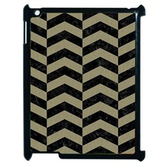 Chevron2 Black Marble & Khaki Fabric Apple Ipad 2 Case (black) by trendistuff